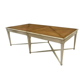 French Rustic Painted Fruitwood Extension Dining Table by Roche Bobois For Sale