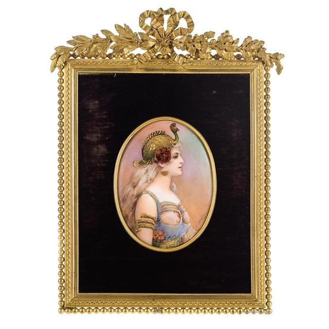 French Enamel Plaque with Gilt Bronze Frame | Chairish