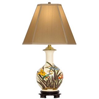 Japanese Vase Table Lamp With Irises For Sale