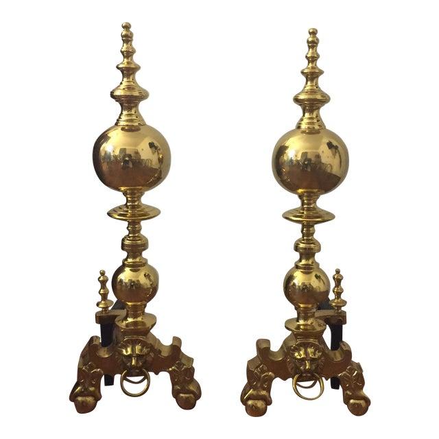 Lion Head Brass Andirons - Pair - Image 1 of 3