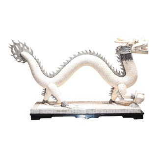 Monumental Asian Bone Horn Dragon Sculpture For Sale