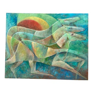 Vintage Cubist Horses Oil Painting by Sammy Pasto For Sale