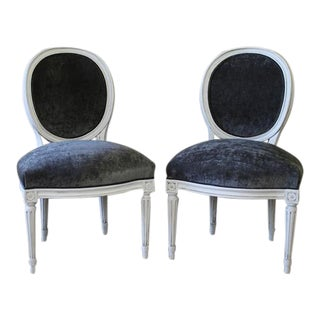 Velvet Louis XVI Style Painted and Upholstered Side Chairs - a Pair
