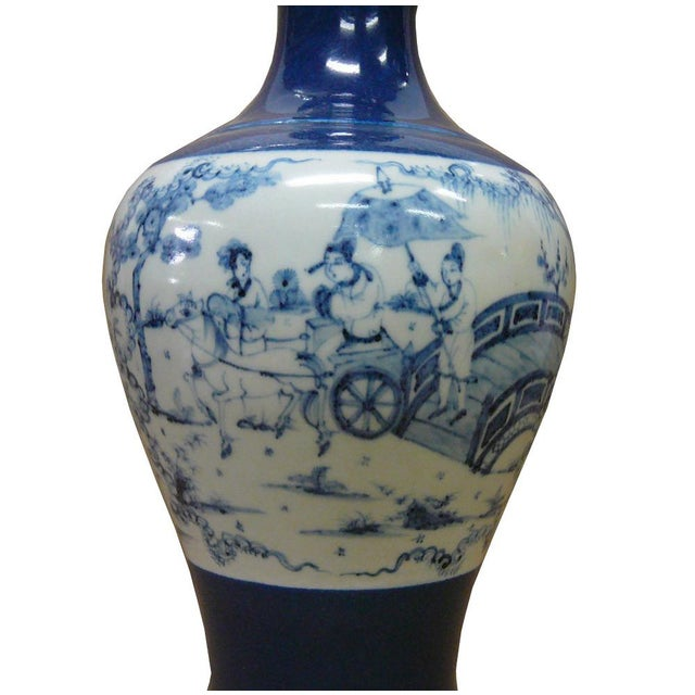 Chinese Porcelain Scenery Painted Blue Vase For Sale - Image 4 of 6