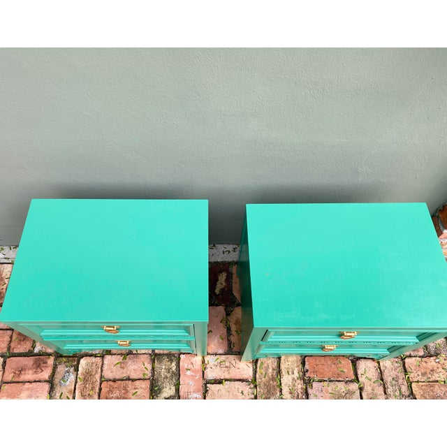 1960's Dixie Shagri La Green and Gold Leaf Hollywood Regency Nightstands- a Pair For Sale In Miami - Image 6 of 13