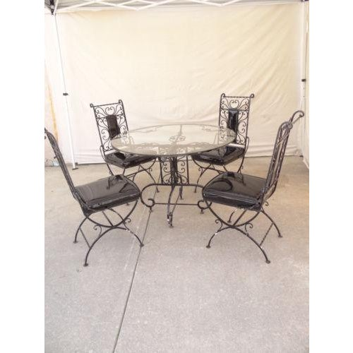 Vintage Regency Iron Patio Dining Set For Sale - Image 13 of 13
