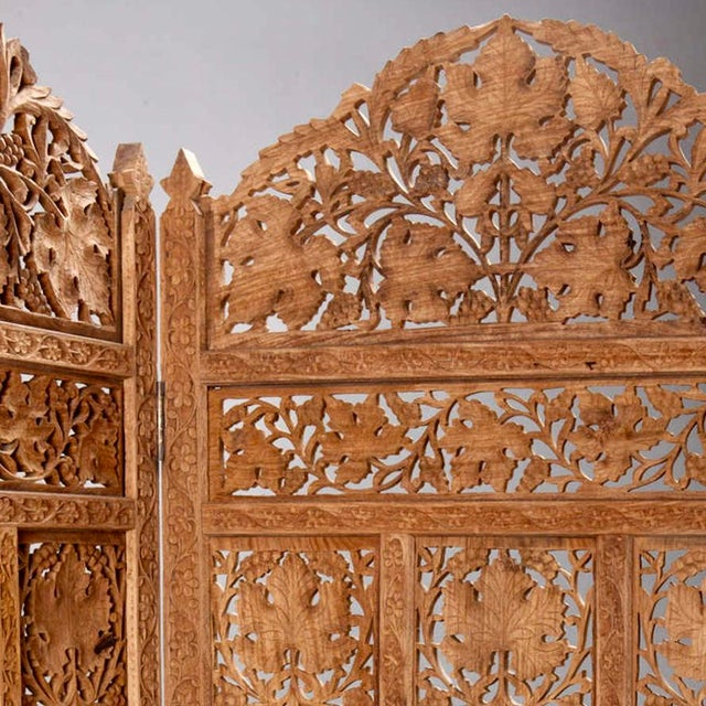 Wood 19th Century Anglo-Indian Elaborately Carved Four Panel Screen For Sale - Image 7 of 7