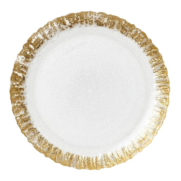 Kenneth Ludwig Chicago Rufolo Glass Gold Rim Salad Plate For Sale