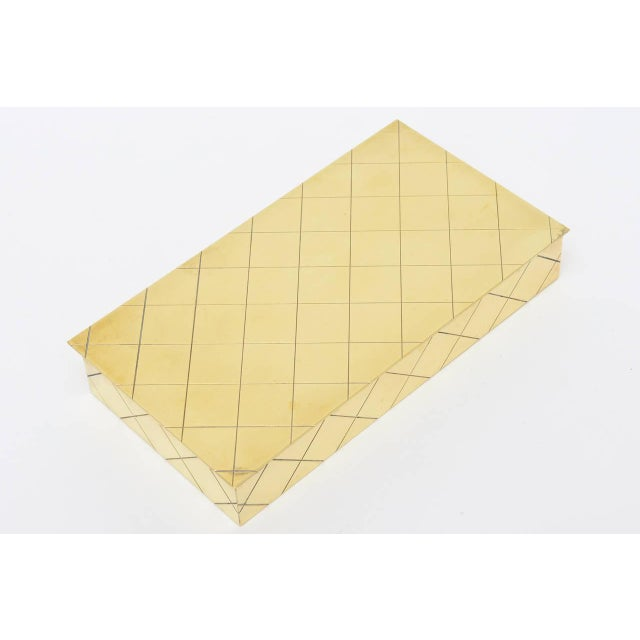 Tommi Parzinger Polished Diamond Criss Cross Brass and Wood Box - Image 4 of 9