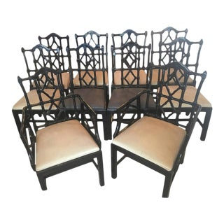 Chinese Chippendale Fretwork Dining Chairs - Set of 10 For Sale