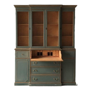 Neo-classical 4-door breakfront bookcase For Sale