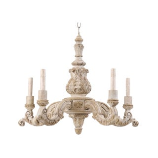 French Mid-20th Century Richly Carved and Painted Wood Chandelier in Soft Cream For Sale