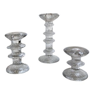 20th Century Scandinavian Modern Iittala Festivo Finland Glass Candle Holders - Set of 3 For Sale