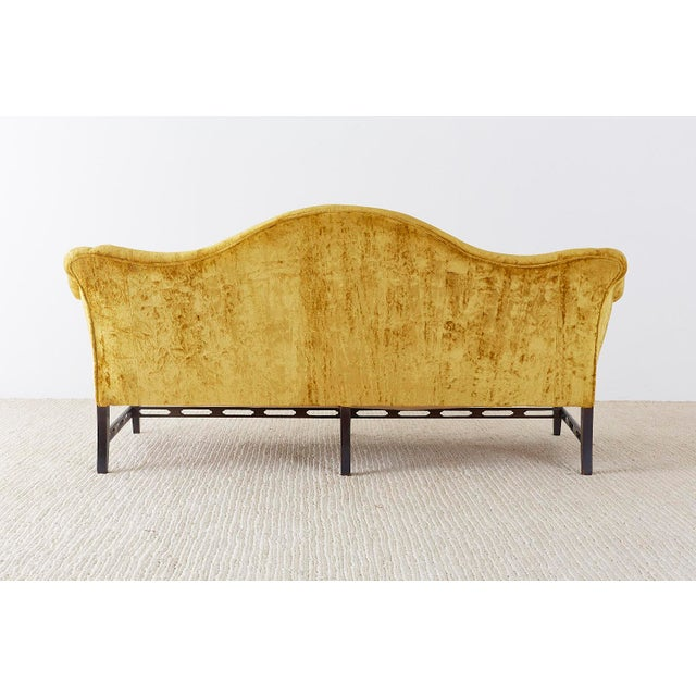 Chinese Chippendale Style Citron Velvet Camel Back Sofa For Sale - Image 12 of 13