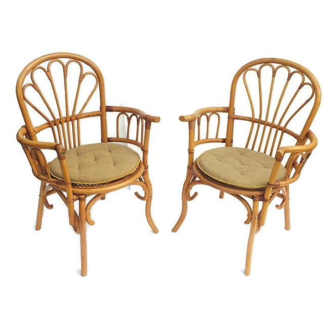 Bamboo 1980s Vintage Bent Bamboo Arm Chairs - a Pair For Sale - Image 7 of 13