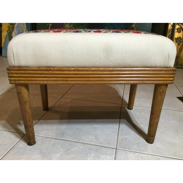 Cotton Vintage Upholstered American Sitting Stool For Sale - Image 7 of 13