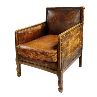 Armchair - Wood & Leather For Sale