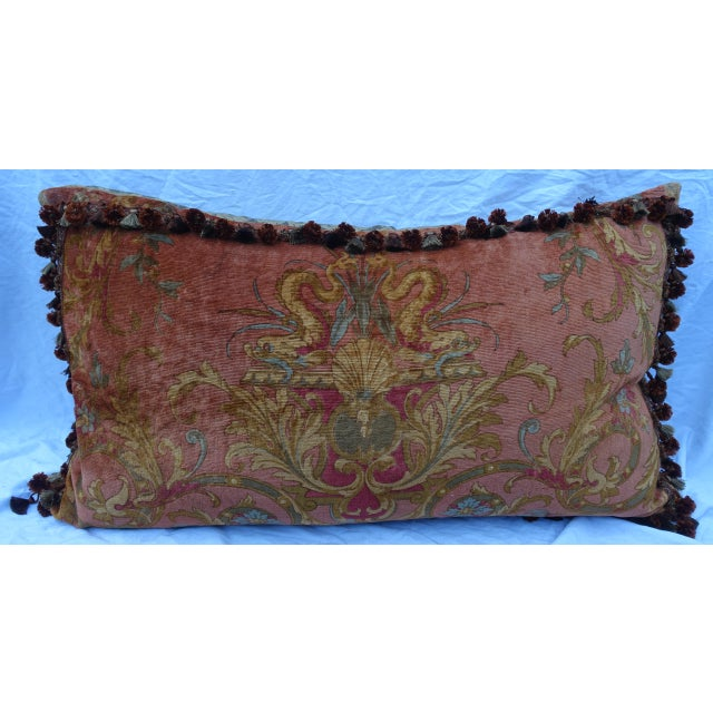 Monumental scaled vintage mohair texile bed pillow depicting a pair of dolphins, a center shell, and swirling acanthus...