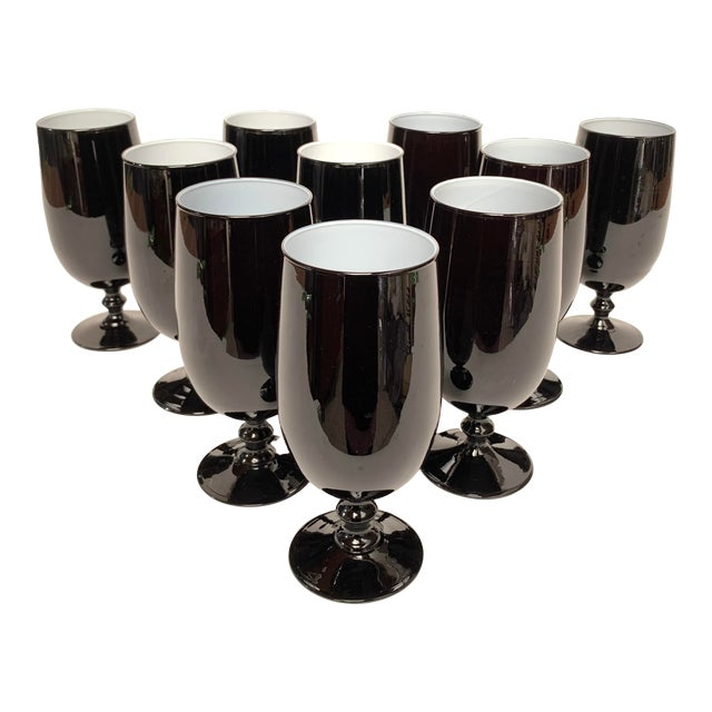 1960s Carlo Moretti Black and White Cased Glass Goblets - Set of 10 For Sale