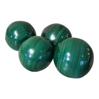 Malachite Carved & Polished Spherical Stones - Set of 4 For Sale