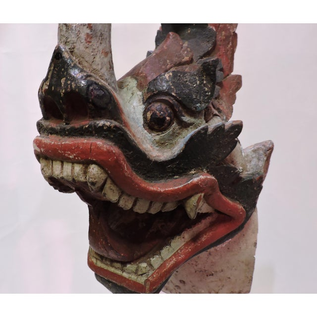 Asian Antique Burmese Wooden Dragon Head For Sale - Image 3 of 4