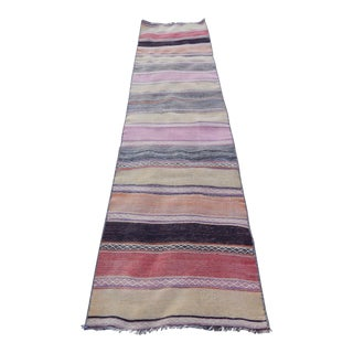 Vintage Striped Turkish Kilim Runner Rug For Sale