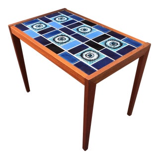 Vintage Mid-Century Blue Tile Top Side Table