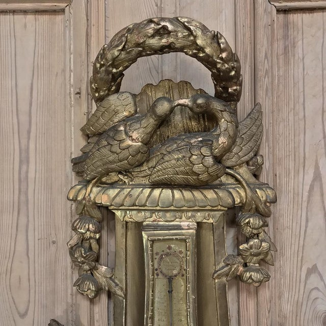 Louis XVI 18th Century Giltwood Hand Carved Barometer - Thermometer For Sale - Image 3 of 11