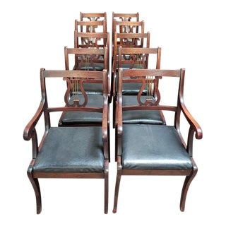 "Regency Style Mahogany ""Harp Back"" Dining Chairs C.1900 - Set of 10 For Sale"