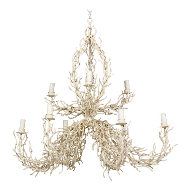 1980s Two Tier Faux Off-White Coral Chandelier For Sale