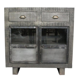 Industrial Bailey Wooden Grey Rustic Cabinet For Sale