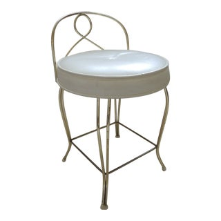 Vintage Round Brass Art Deco Vanity Stool With Upholstered Seat For Sale