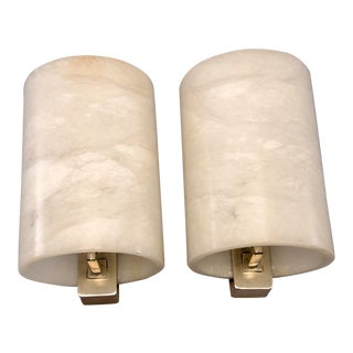 Large Italian Hand-Carved Alabaster Sconce - Pair For Sale