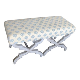 Gray Wash Upholstered Bench For Sale