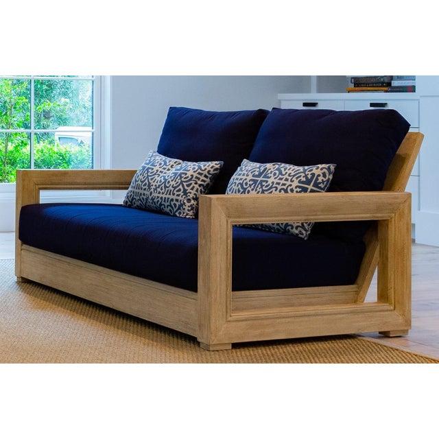 "2010s Restoration Hardware 55"" Costa Teak Classic Sofa & Cushions For Sale - Image 5 of 6"