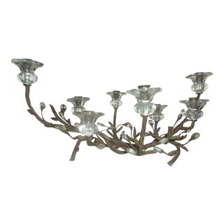 Vintage 1940s Iron and Glass Candelabra For Sale