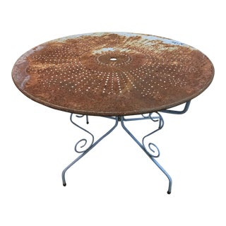 1950s Rustic Metal Garden Table Found in France