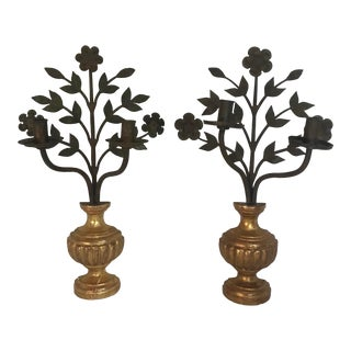 Vintage Gilt Gold and Iron Floral and Urn Wall Candelabras - a Pair For Sale