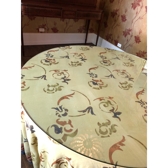 """Custom Made 54"""" Round Dining Table With Custom Table Cloth For Sale - Image 4 of 9"""