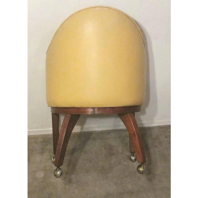 Eames Mid Century Danish Modern Teak Yellow Accent Club Chair on Brass Casters For Sale - Image 4 of 6