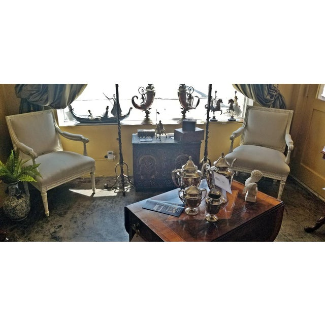 Louis XVI Style Pair of Painted Armchairs For Sale - Image 9 of 12