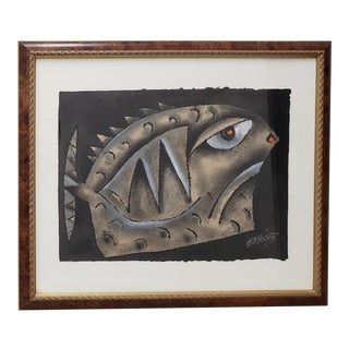"Eduardo Exposito Gonzalez (Cuba, B. 1964) ""Fish"" Original Mixed Media 20th C. For Sale"