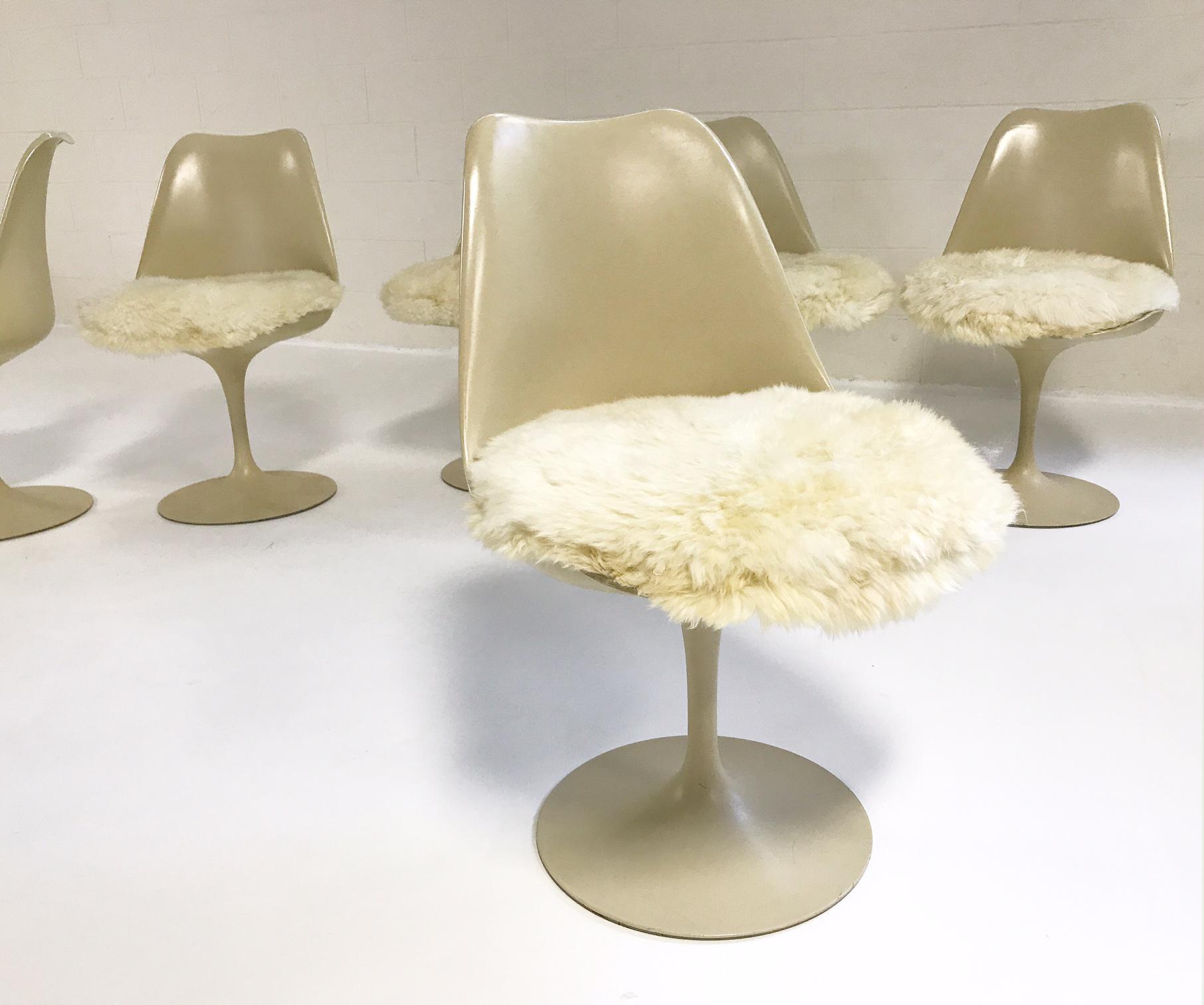 Animal Skin Eero Saarinen Tulip Chairs With Custom Brazilian Sheepskin  Cushions   Set Of 6 For