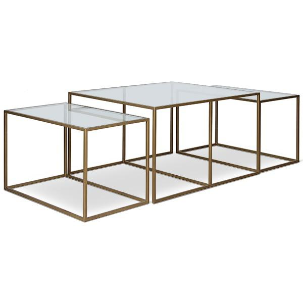 Nesting Metal Glass Top Cocktail Tables - Set of 3 - Image 1 of 4