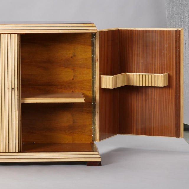 Reeded Maple Cabinet with Rosewood Trim and Black Glass For Sale In Detroit - Image 6 of 13