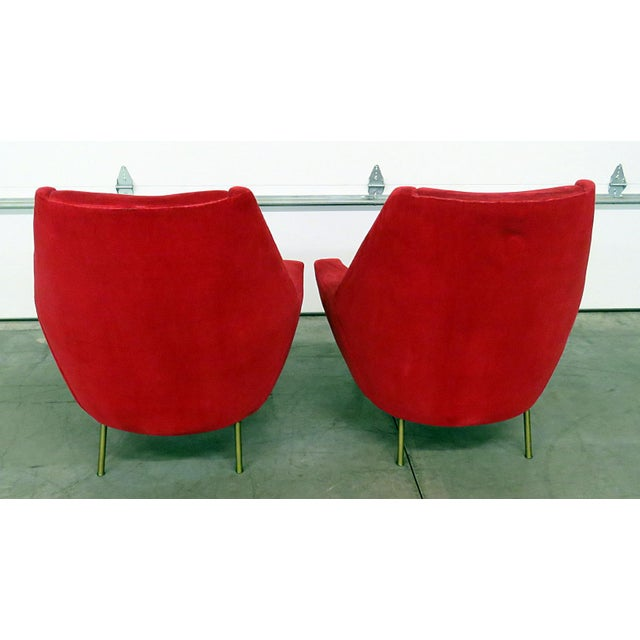 Brass Mid 20th Century Red Italian Modern Lounge Chairs - a Pair For Sale - Image 7 of 9
