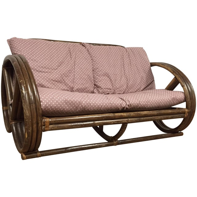 Paul Frankl Style Child's Rattan Sofa - Image 1 of 9
