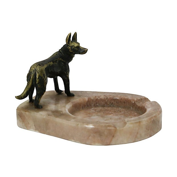 Art Deco Bronze German Shepard on Marble Ashtray For Sale - Image 3 of 4