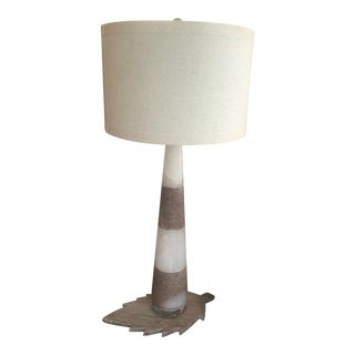 Alabaster Buffet Tall Lamp With Shade For Sale