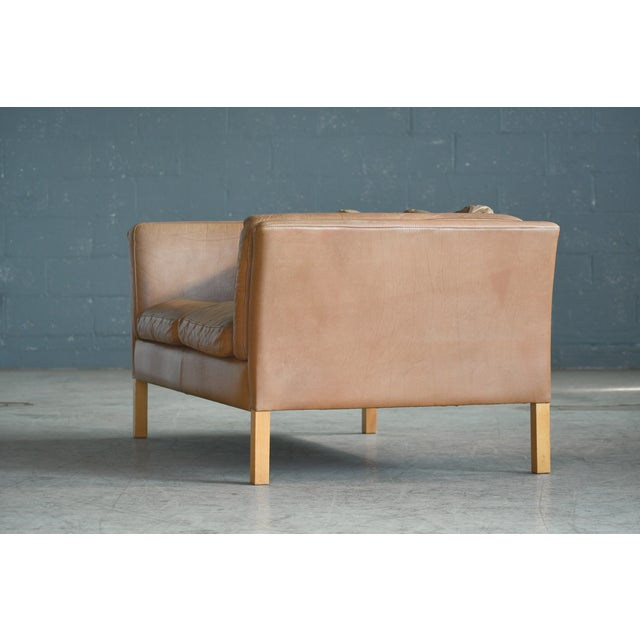 Danish Loveseat in Butterscotch Worn Leather by Stouby Mobler For Sale - Image 10 of 12